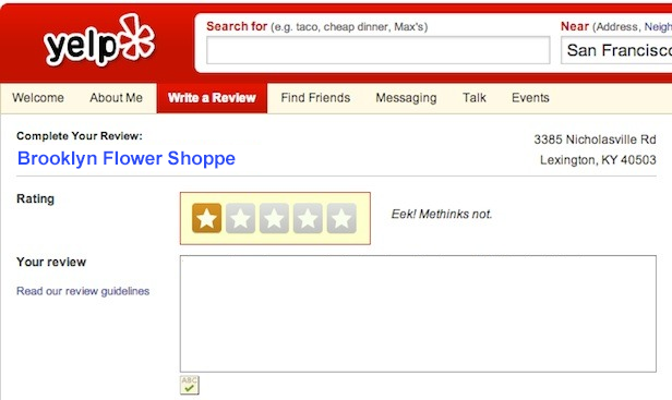 Florist Website - Yelp Review