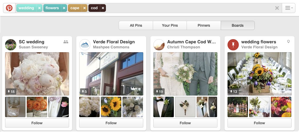 Pinterest Florist Search