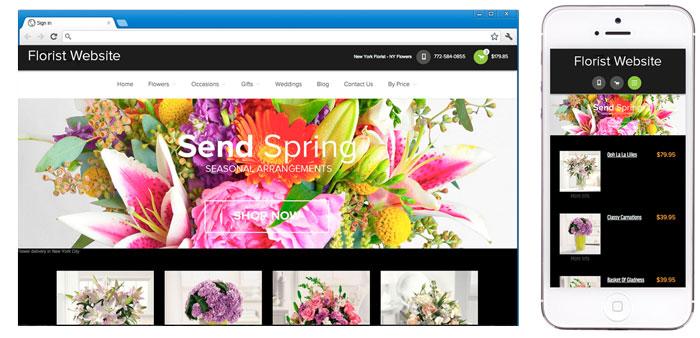 Florist website vs mobile display