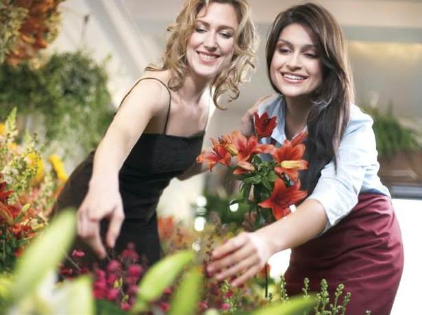 Florist with a customer