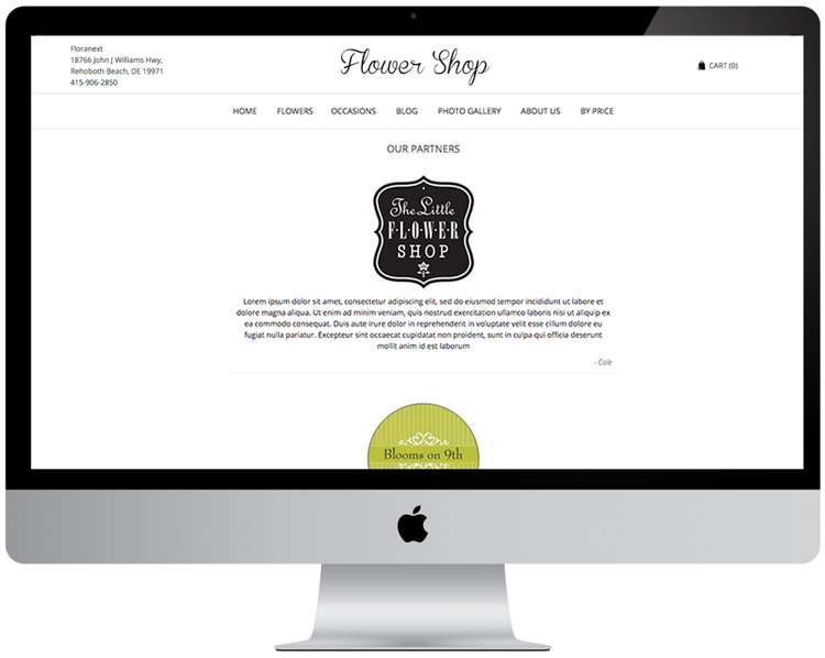 Florist Website - Partner Pages