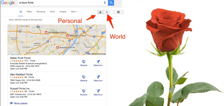 Florist SEO - Global Vs Local Search Results