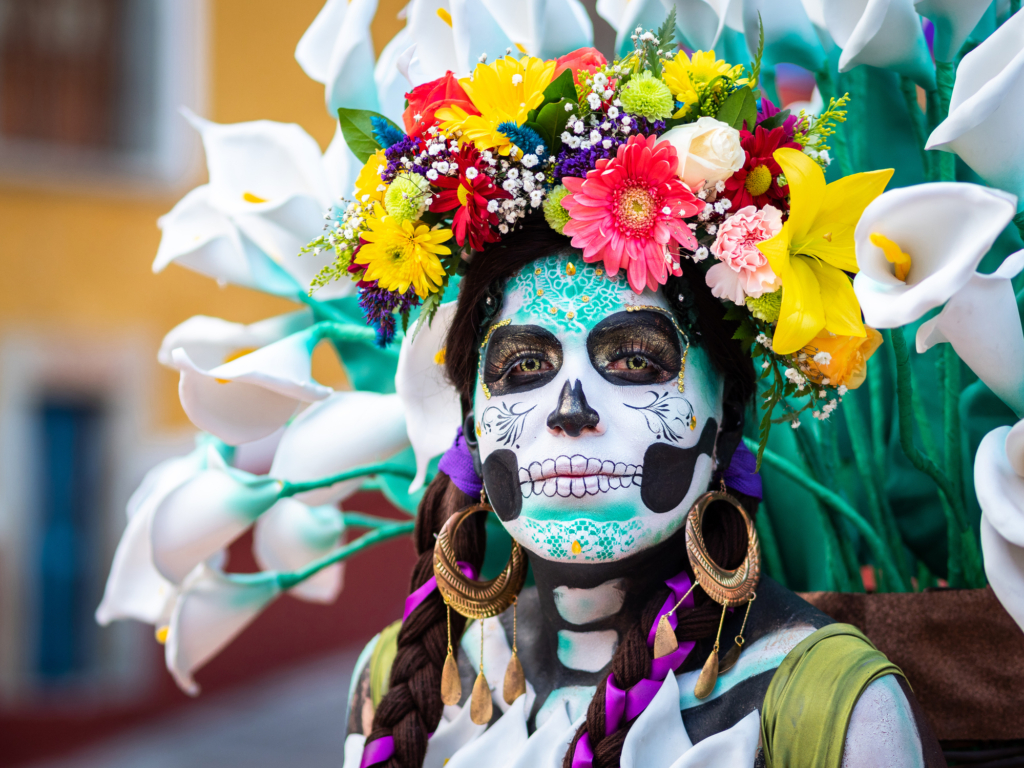 Portrait of a Woman with Day of the Dead Costumes and Skull Makeup in Guanajuato, Mexico